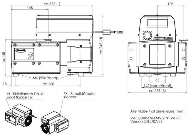 MV 2 NT VARIO - 尺寸规格表