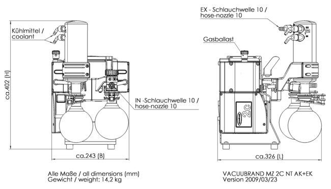 MZ 2C NT +AK+EK - 尺寸规格表